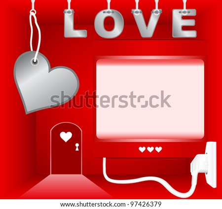 Red room with empty light box on theme of Valentines Day - stock photo