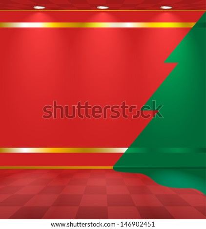 Red room with fir sticker on the wall - stock photo