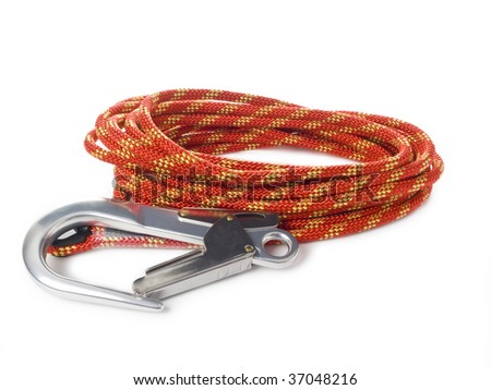 Red rope and carabiners - stock photo