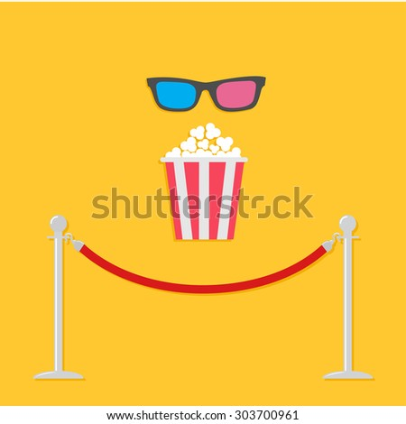 Red rope barrier stanchions turnstile 3D glasses big popcornCinema icon in flat design style.  - stock photo
