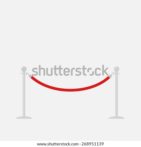 Red rope barrier stanchions turnstile Isolated template Flat design