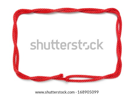Red rope frame isolated on white - stock photo