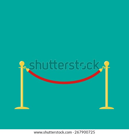 Red rope golden barrier stanchions turnstile on green background Flat design  - stock photo