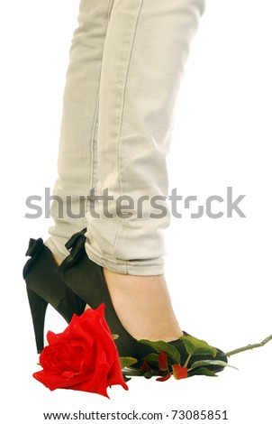 Red Rose and black shoes - stock photo