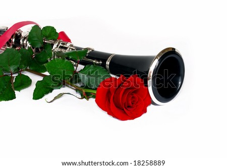 red rose and clarinet over white