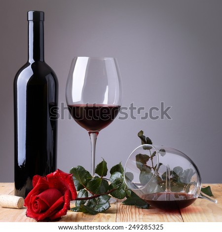 Red rose and glass of wine # 3 - stock photo