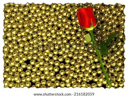 red rose and glossy golden speres on background - 3D render - stock photo