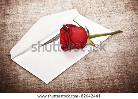 Red Rose and Letter - stock photo
