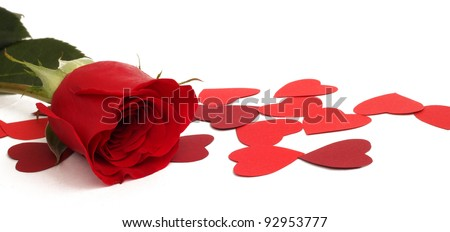 Red rose and paper hearts Valentines Day - stock photo