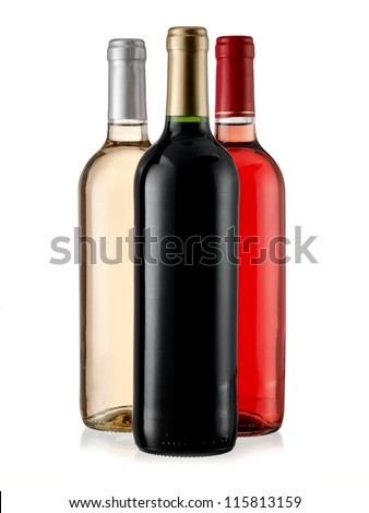 Red, rose and white wine bottles - stock photo