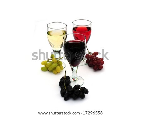 Red,rose and white wine with green,red and black grapes