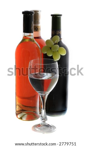 red rose and withe wine - stock photo
