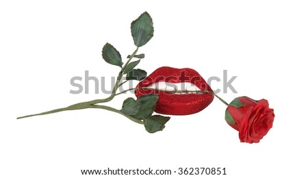 Red rose between the teeth and lips isolated on white - stock photo