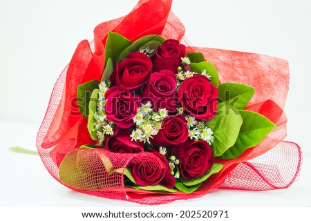 Red rose bouquet - stock photo