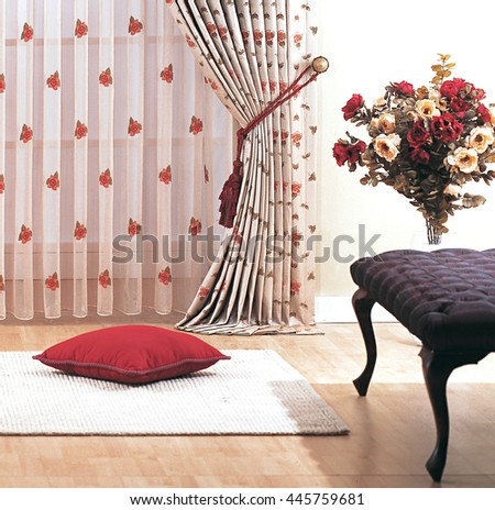 Red rose curtain - stock photo