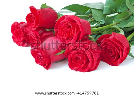 Red rose flowers bunch isolated on white background - stock photo