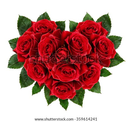 Red rose flowers heart isolated on white