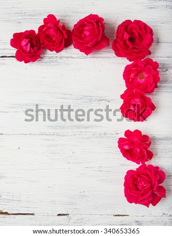 Red rose frame background. Valentines day background. - stock photo