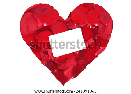 Red rose heart from petals on Valentine's and mothers day isolated with blank sign and copyspace - stock photo
