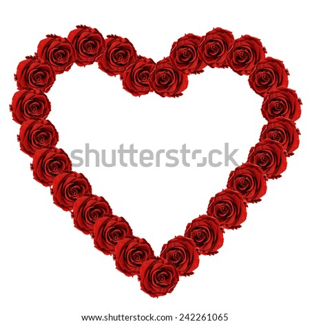 red rose heart valentine isolated on white background - stock photo