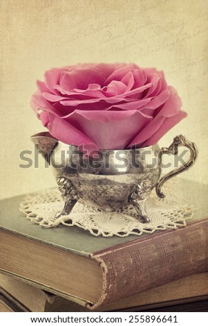 Red rose in a vase and old books - stock photo