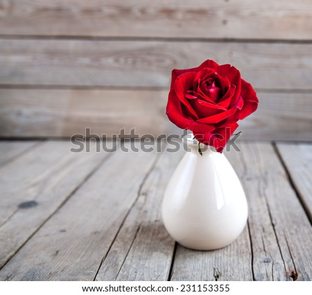 Red rose in vase on wooden table - stock photo