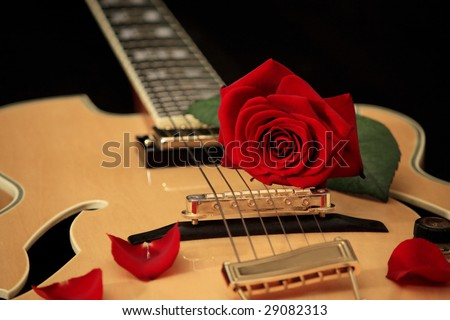 Red rose lying on the strings of acoustic guitar