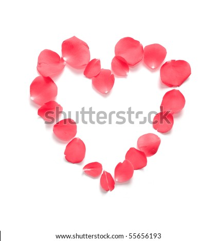 Red rose petals are shaped in a romantic heart pattern. Use it as a symbol of love or a valentine's day holiday. - stock photo