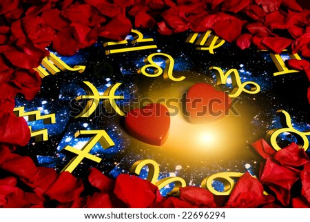 red rose petals around an astrology background with two heart shapes in the center - stock photo