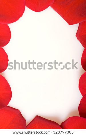 Red rose petals frame. - stock photo