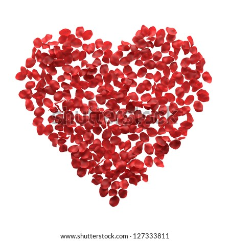 Red rose petals heart on white - stock photo