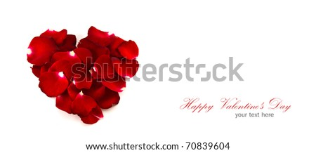 Red rose petals in a heart shape  isolated on white background  with copy space.