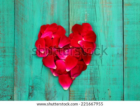 Red rose petals in the shape of heart on distressed teal blue wood door - stock photo