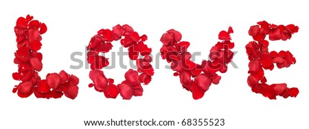 Red rose petals set in word LOVE - stock photo