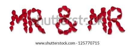 Red rose petals spelling mr and mr on white background - stock photo