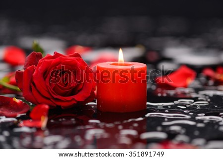 Red rose, petals with candle and therapy stones  - stock photo