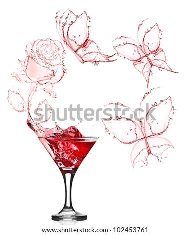 red rose splash from martini - stock photo