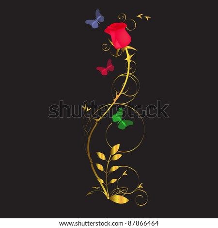 red rose with a golden stem on a black background - stock photo