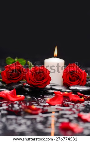 red rose with candle and therapy stones  - stock photo