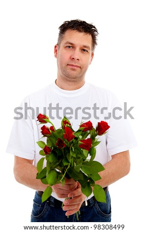 Red rose with fallen leaves over white background