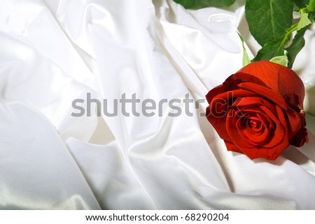 Red rose with green leaves among the folds of a white textured textile