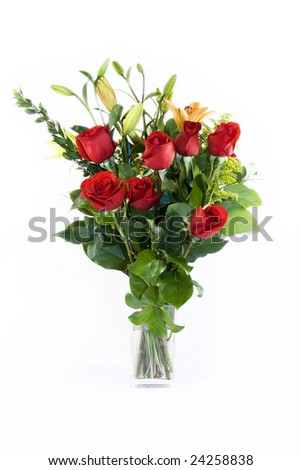 Red Roses and Lilies in a Vase - isolated against white background - stock photo