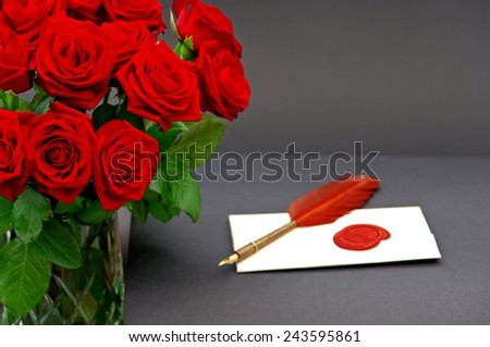 red roses and love letter on black background. festive flower arrangement. Invitation or greetings card concept - stock photo