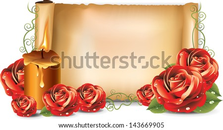 Red roses background candle bitmap copy