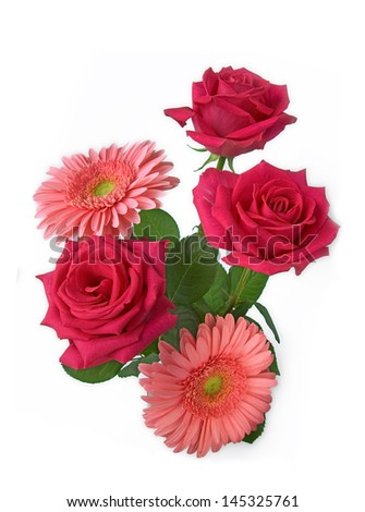 Red roses bouquet isolated on white background - stock photo