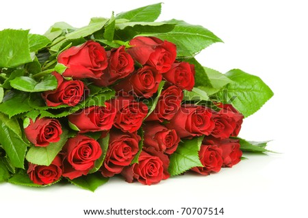 Red roses  bouquet isolated on white background
