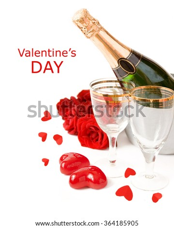 Red roses bunch, champagne and hearts isolated on white background with sample text. Valentine's day concept. Love concept - stock photo