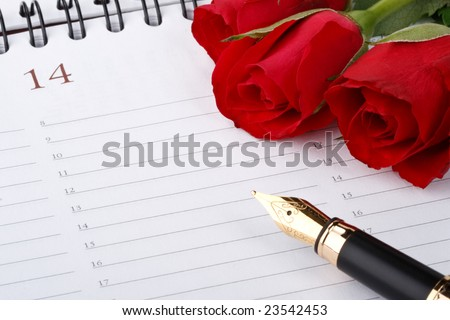 Red roses, fountain pen and calendar page. Valentines day card. - stock photo