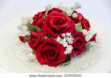 Red roses icing birthday wedding cake decoration