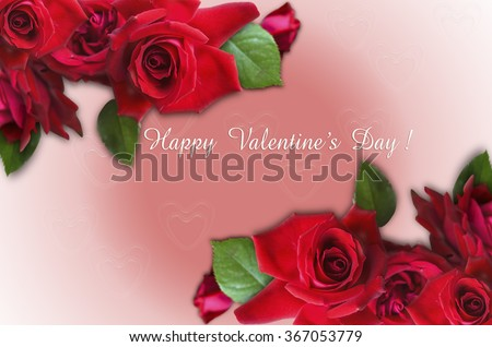 Red roses in corners and I Love You on  pink gradient background with hearts